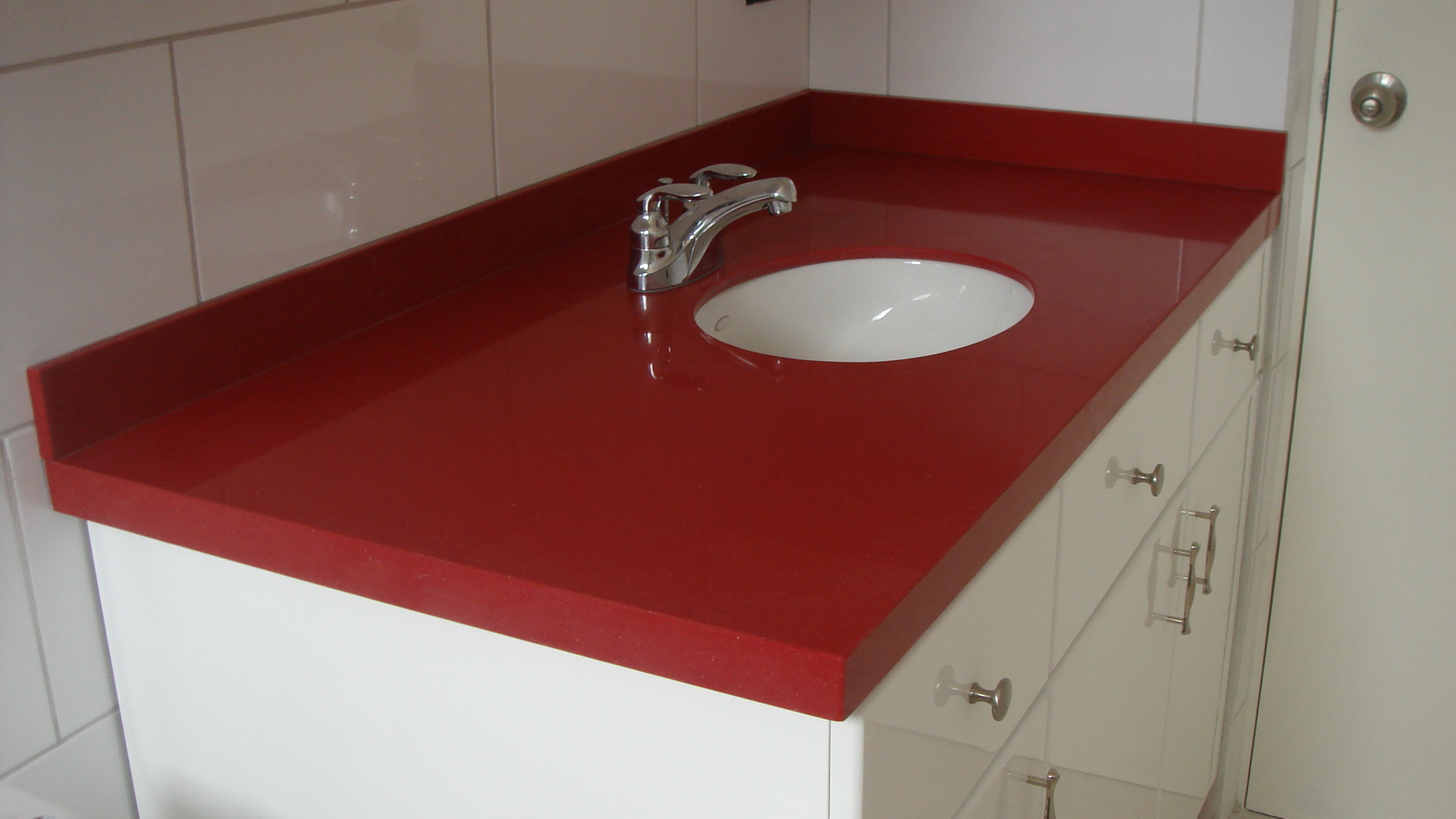 Silestone red eros vanity top with under mounted sink for Silestone kitchen sinks
